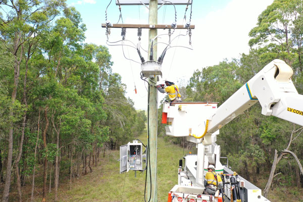 NOJA Power RC20 Controller with OSM Recloser under installation in Queensland Australia.