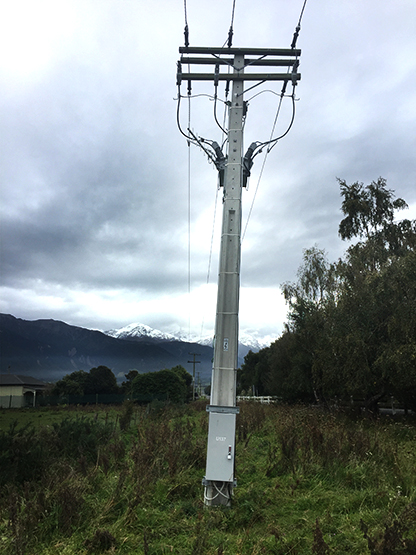 NOJA Power OSM Recloser Installation post-earthquake, Controller side