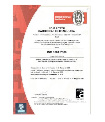 NOJA Power Brazil ISO9001:2008 certification