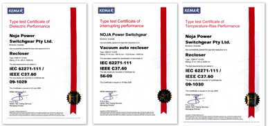 KEMA Type Test Certificates for Dielectric, Interrupting & Temperature-Rise Performance