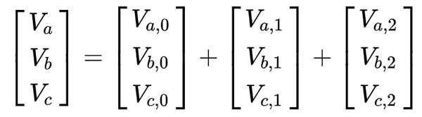 Matrix Notation of Phase Voltages (LHS), with Sequence Components (RHS) Essentially, the 3 phase readings (LHS) can be reached by adding together the three sequence components (RHS)