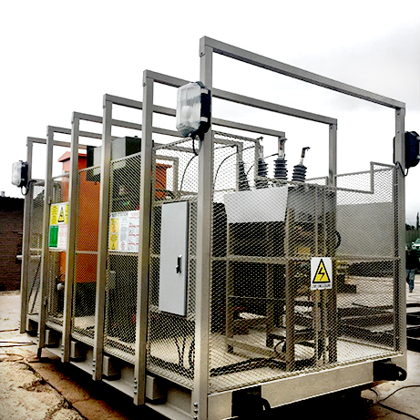 A NOJA Power OSM38 Recloser, surrounded by a blast cage for Mining Applications