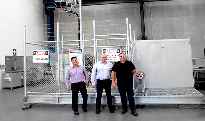 Left to Right, Dean van Wijk (General Manager POWINS), Neil O'Sullivan (Group Managing Director NOJA Power), Julian Rauwendaal (Operations Manager QLD POWINS)