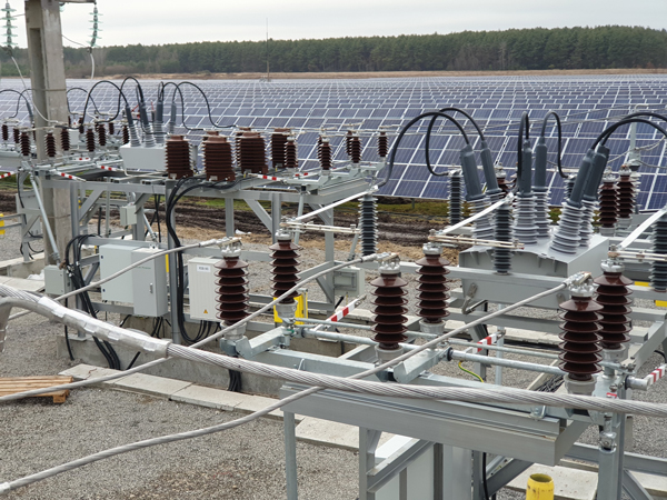 Two NOJA Power OSM Reclosers used to connect a Solar Farm to the Distribution Grid at 35 kV.