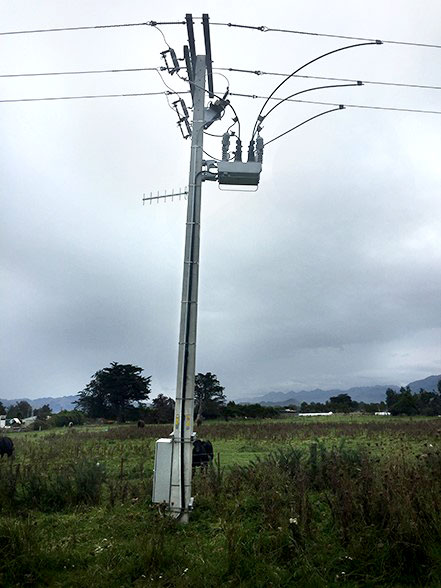©NOJA Power 2021, an OSM Recloser after the 2016 Kaikora Earthquake in New Zealand (note the sunken pole)