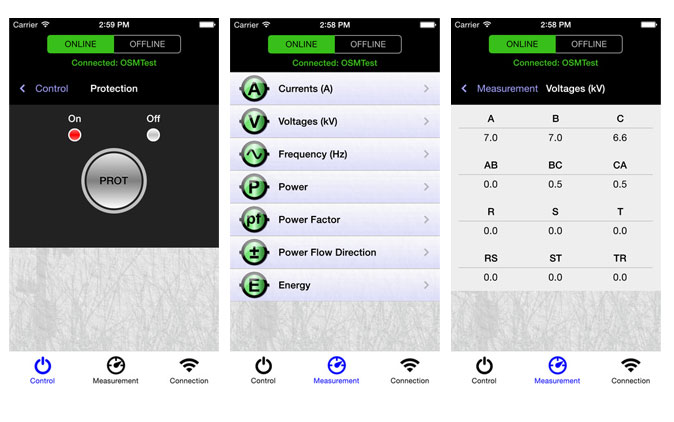 Screenshots of the Enhanced NOJA Power Recloser App