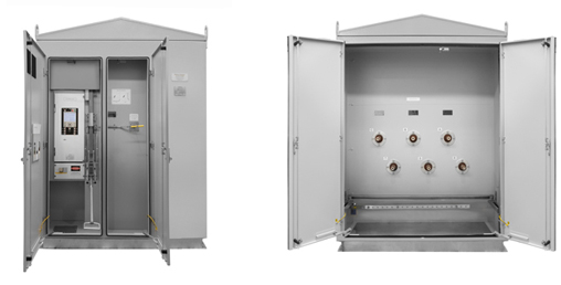 Custom Ground Mount Kiosk with mechanical (rack-and-pinion) interlock between the ACR and earth switch
