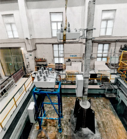 ©2021 NOJA Power, The OSM Recloser installation under test on the seismic shaking table, Center for Complex Seismic Testing, Russian Federation
